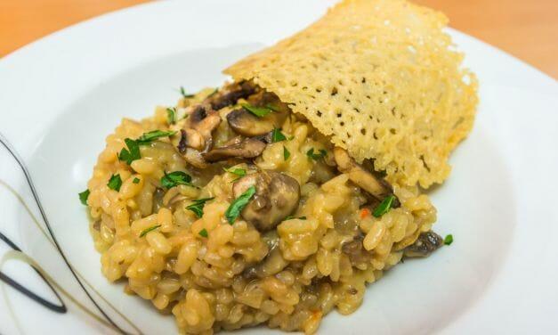 Recette de Risotto aux champignons de Paris et sa tuile de parmesan