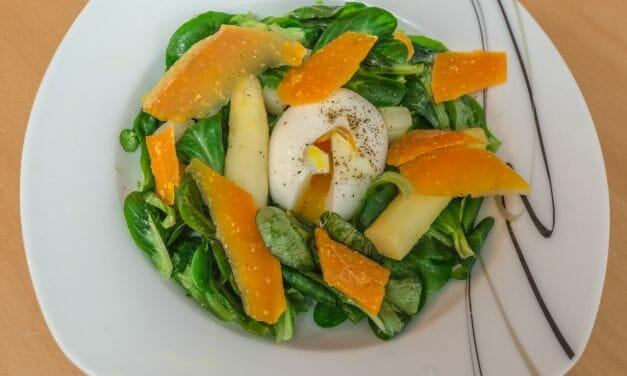 Recette salade d'asperges blanches œuf mollet de Cyril Lignac