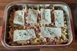 Gratin de pâtes macaroni au fromage bleu de bresse