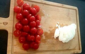 Tarte façon quiche aux tomates cerises mozzarella di Bufala et basilic