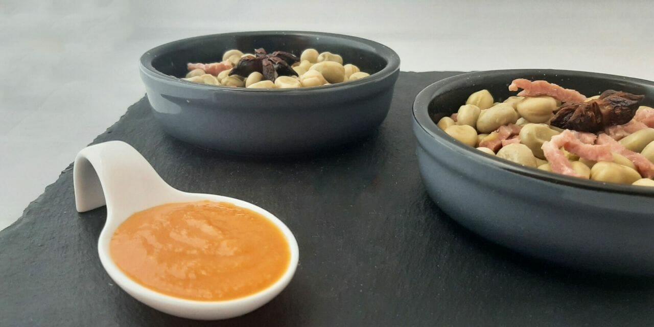 Fèves vertes bio avec sa sauce romesco. Une recette Catalane !