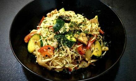 Recette Nouilles sautées aux légumes (champignons, poivrons et courgettes)