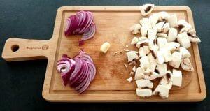 Rougets frits et poêlée de champignons